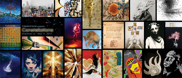 Grid of artworks from show