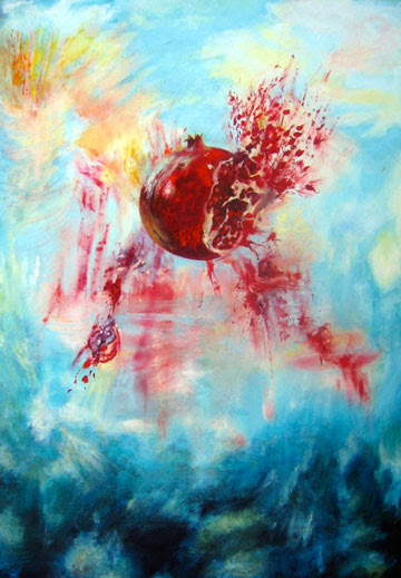 "Sarah Horwitz Rimon (Pomegranate) 34"" x 24"" • oil on wood • 2015"
